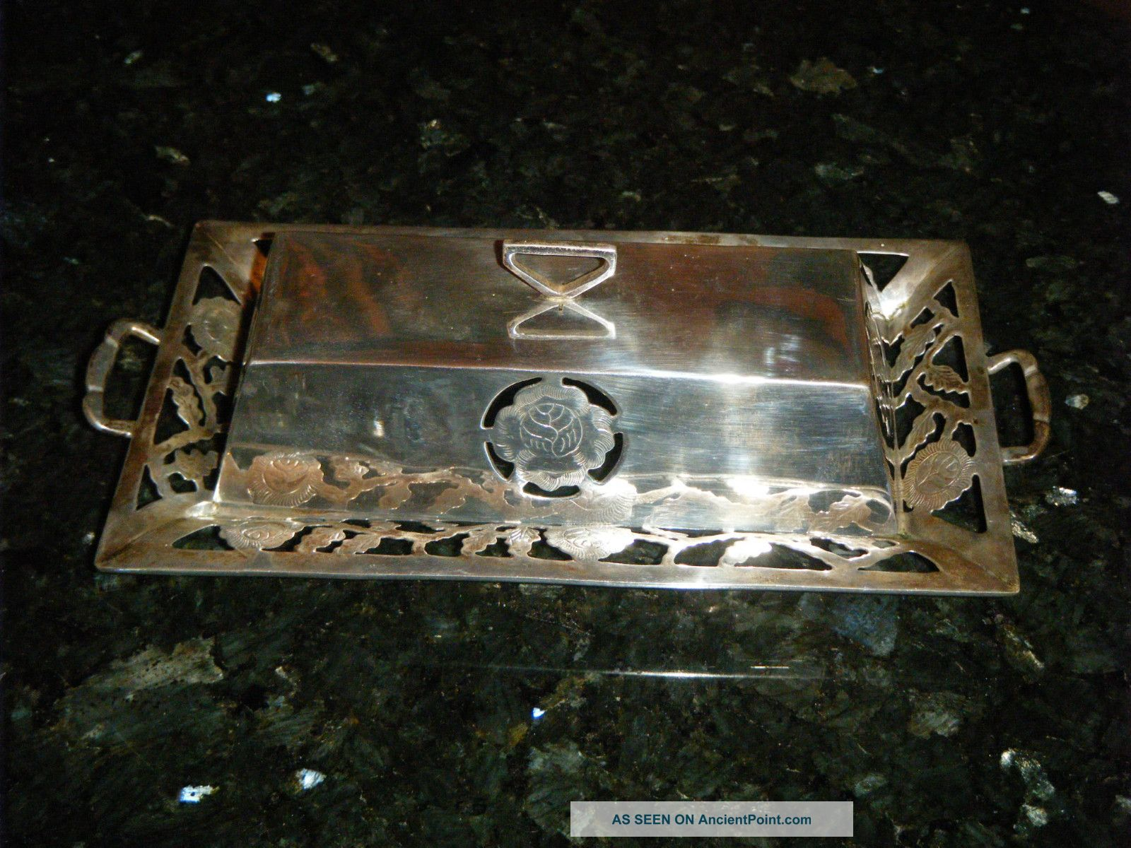 1950 ' S Sterling Silver & Etched Glass Los Ballesteros Butter Dish Mexico,  Taxco Mexico photo