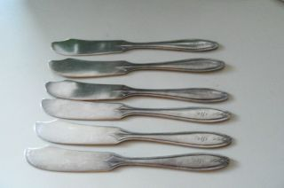 6 Antique Wallace Silver Plate Butter Knives Monogram