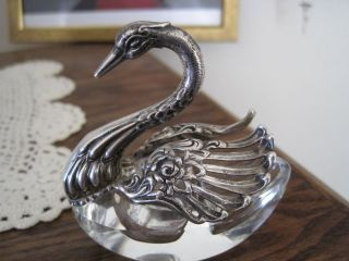 Antique Sterling Siver And Crystal Swan Double Open Salt Dip Lovely photo