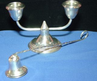 Sterling Silver Candle Holder And Snuffer Set photo