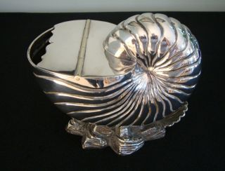 Antique Nautilus Spoon Warmer,  Silver Plate Victorian photo
