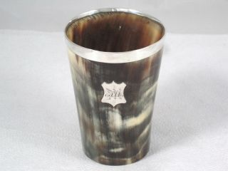 Antique Scottish Sterling Silver Mounted Stag Horn Cup Or Beaker Circa 1890 photo