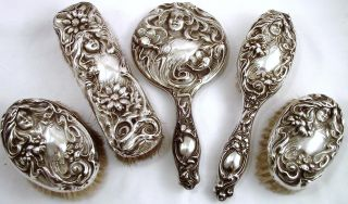 Fine Art Nouveau Continental Silver 5 Piece Dressing Table Set - 1900 photo