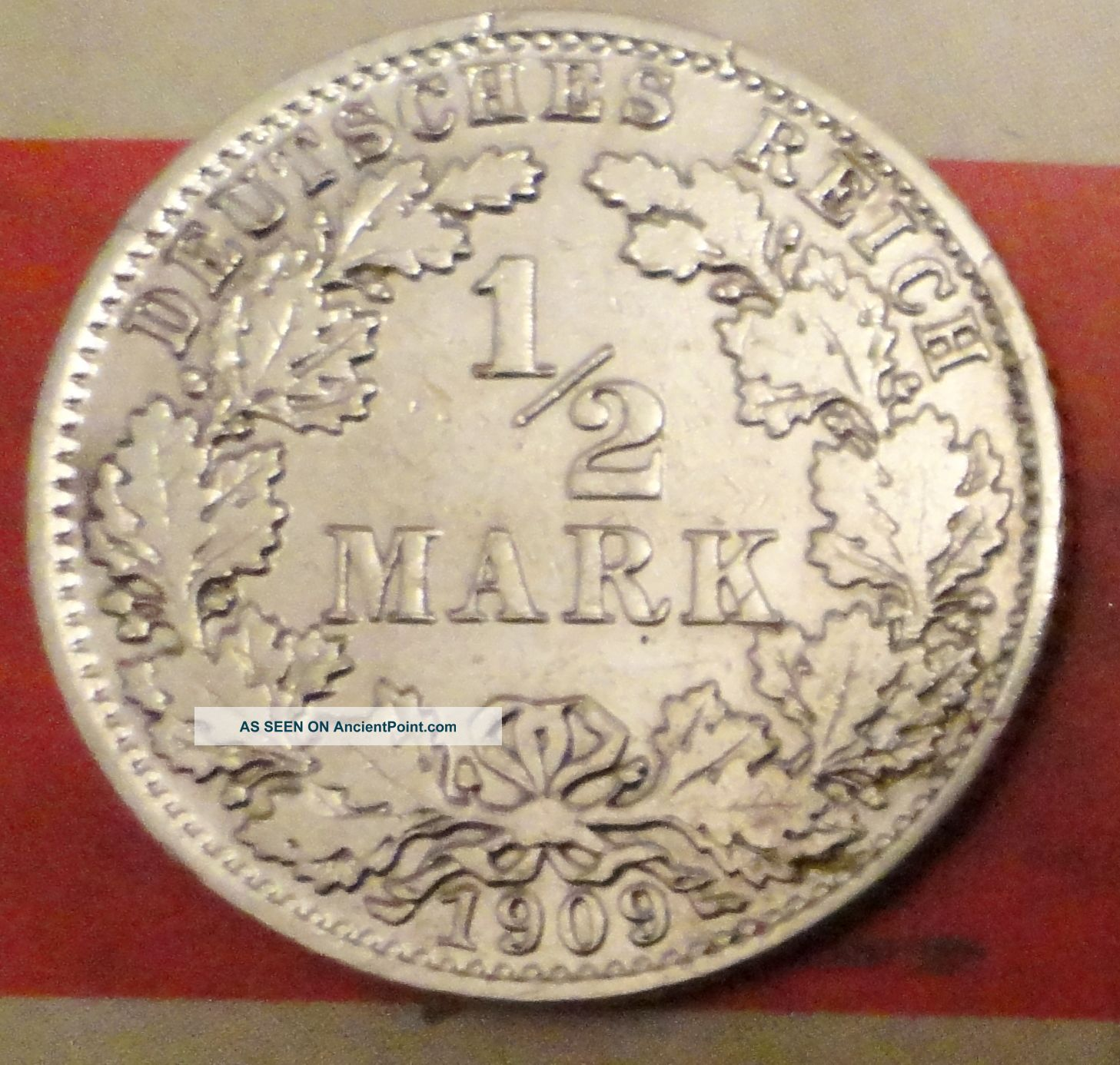 1/2 Mark 1909 A Germany Silver Coin Berlin Mint Coin Silver (.900) photo