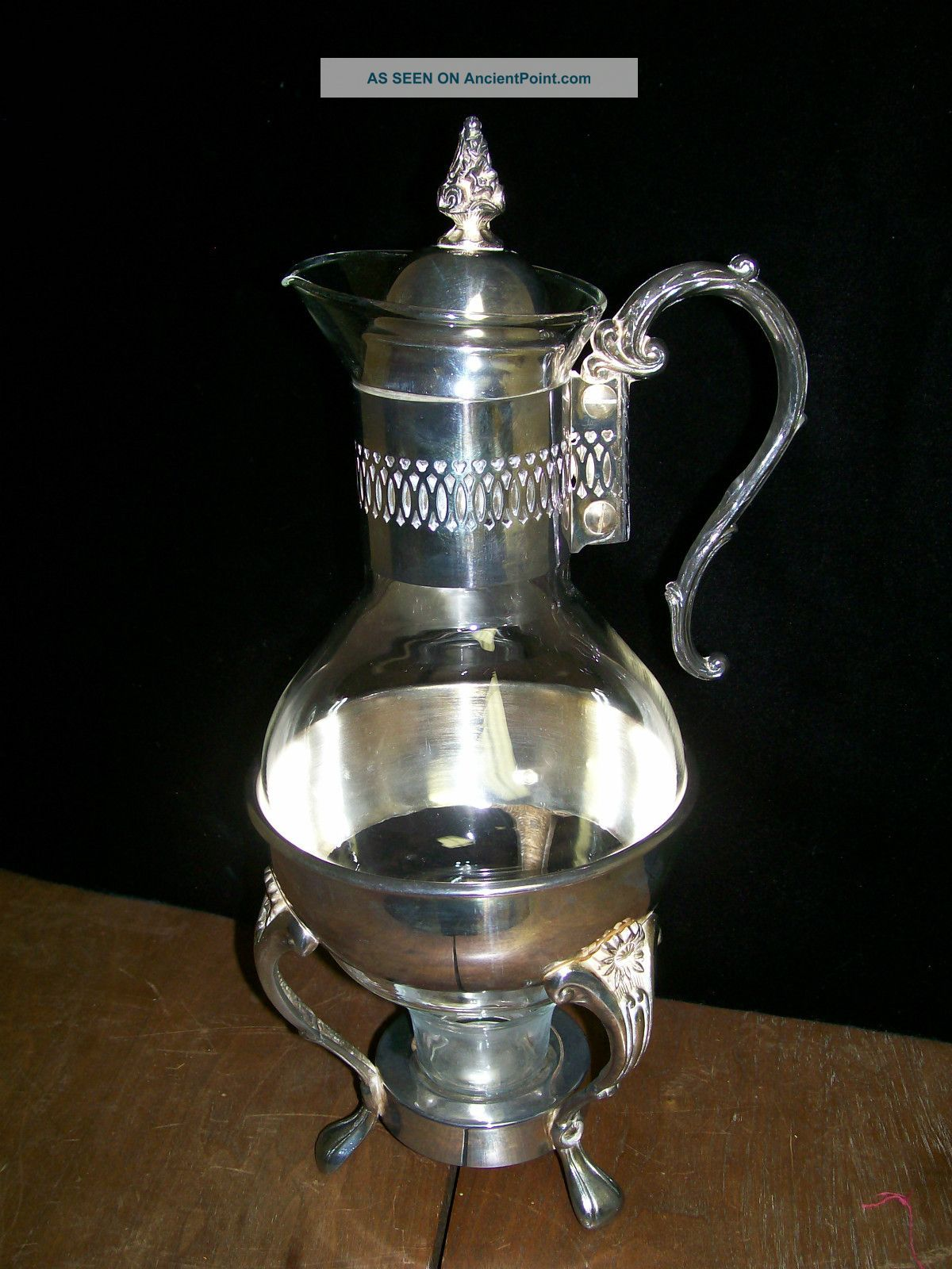 Vintage Silver Plated Glass Coffee Decantor,  Warmer Stand,  Carafe,  Tea Pot Bottles, Decanters & Flasks photo