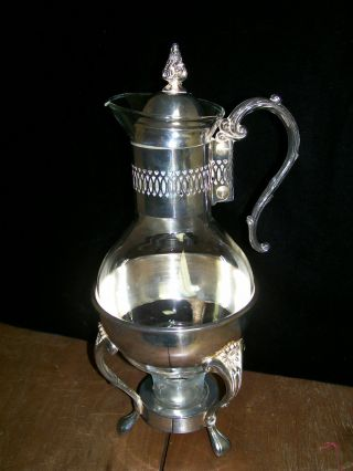 Vintage Silver Plated Glass Coffee Decantor,  Warmer Stand,  Carafe,  Tea Pot photo