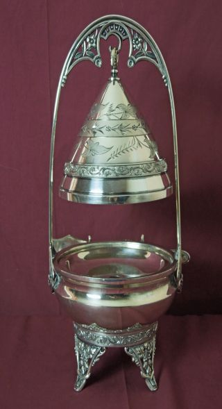 Victorian Hartford Silver Plated Hanging Cover Butter Dish Mint Condition photo