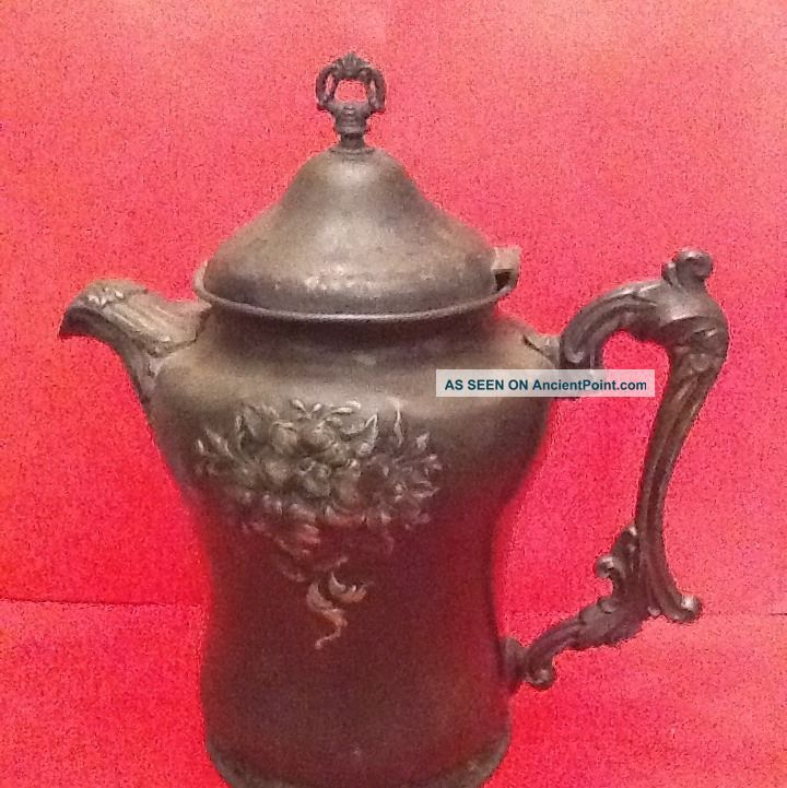 Antique Forbes Co Usa Quadruple Silver Plate 1800 Tea Coffee Pitcher Pot Other photo