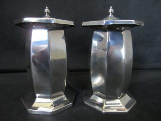 Edwardian Pair Of Solid Silver Salt & Pepper Shakers By H.  E Ltd - Sheffield 1909 photo