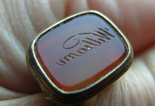 Antique Victorian Gold Filled Seal Fob Charm Amber Glass Matrix Name William photo