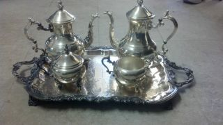 Wm.  Rogers Co Silverplate Tea Set 2377 photo