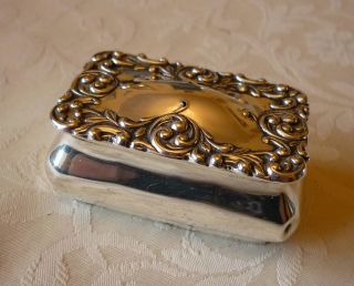 Antique Solid Silver Chester 1902 Hinged Snuff Box photo