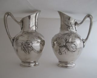 Antique Pair Of German Wmf Pitchers,  Art Nouveau Jugendstil Style.  Circa 1920 photo