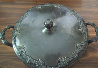 Vintage Mead& Robbins Footed Dish With Lid Quadruple Plate photo