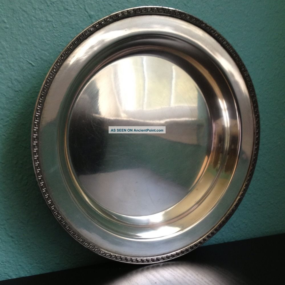 Antique Silver Plate Serving Dish - Roman Key Edge - Tiffany Stlye Plates & Chargers photo