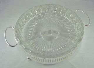 Stunning Vintage Footed Silver Plate Cut Glass Nibbles Nuts Hors D ' Oeuvres Dish photo
