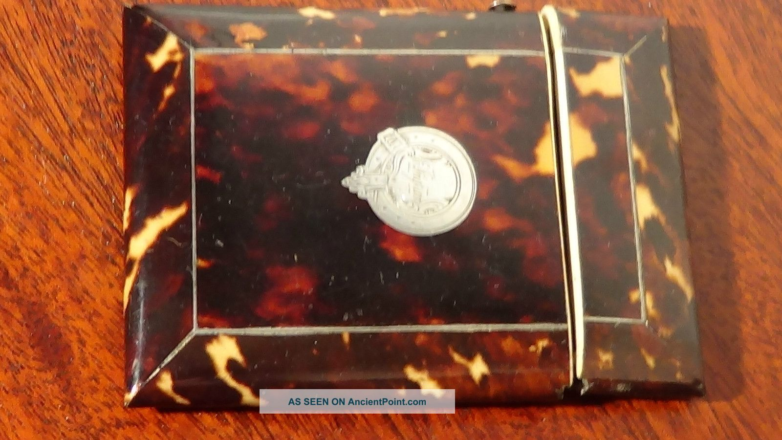 Victorian Faux Tortoise Shell Card Case With Silver Cartouche.  99pstart Card Cases photo