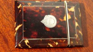 Victorian Faux Tortoise Shell Card Case With Silver Cartouche.  99pstart photo