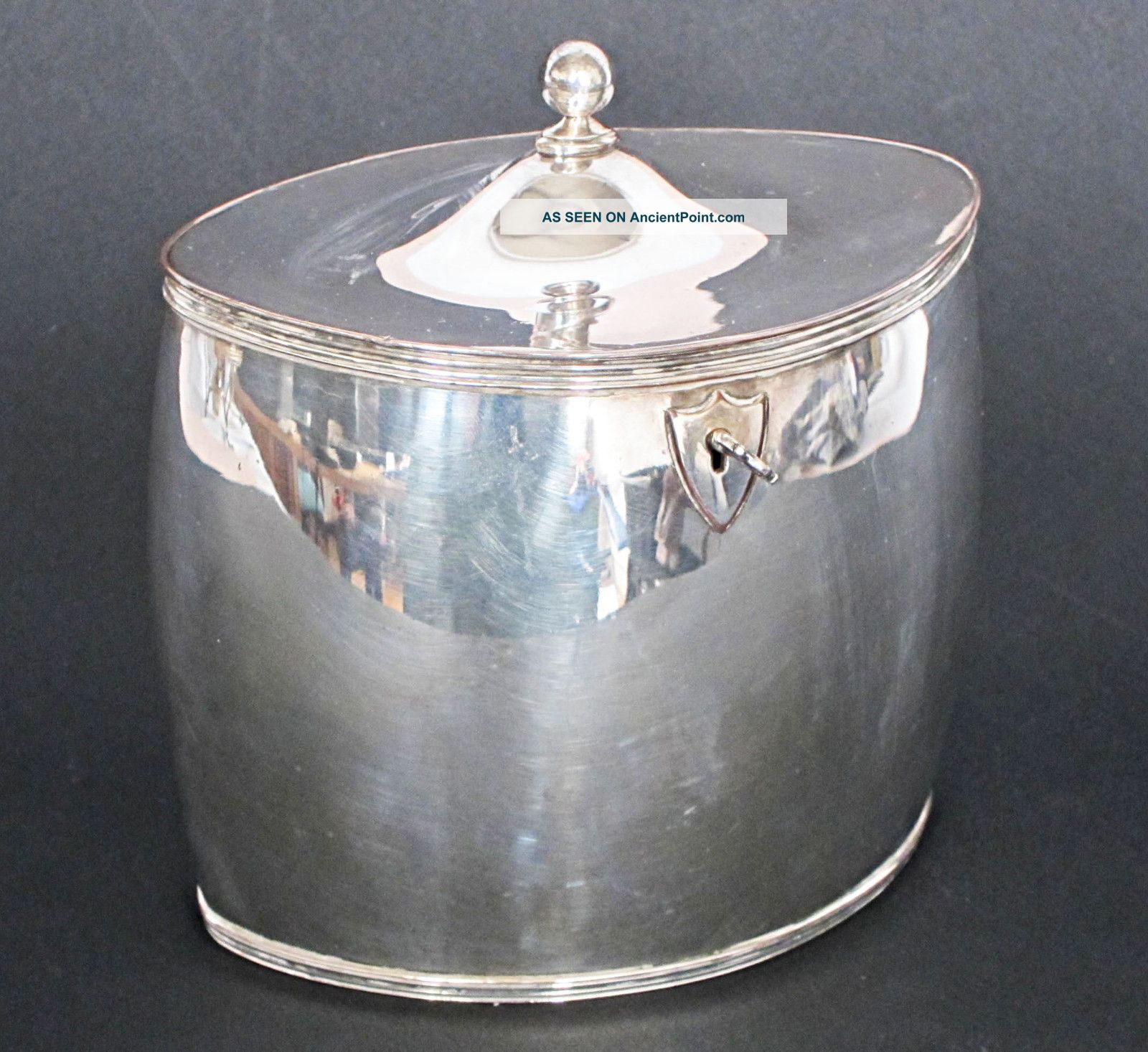 Georgian Antique Sheffield Silver Plated Oval Tea Caddy 1780 Box Boxes photo
