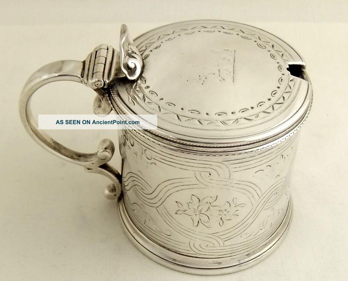 Antique Hallmarked Sterling Silver Mustard 1859 - George Angell Mustard Pots photo