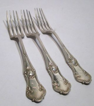 3 Antique Sterling Silver 156 Grams Large Forks Flatware English Hallmarks photo