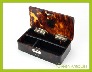 Antique 20thc Edwardian Solid Silver,  9ct Gold & Faux Tortoiseshell Box C.  1906 photo