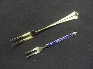 2 Sterling Silver Enameled Hors D ' Oeuvres Forks Hestenes & David Andersen Norway photo