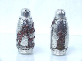 Gorham Sterling Silver & Other Metals Mixed Metals Pair Salt & Pepper Shakers Nr photo