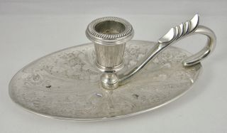 Vintage English Silver Plated Oval Ornate Chamber Candle Stick Holder photo