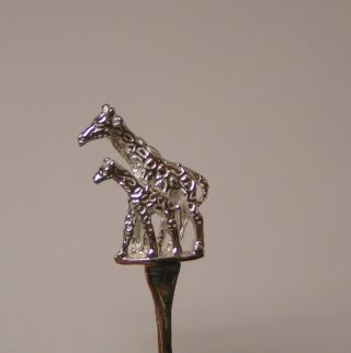 Salt Spoon (giraffe & Baby) Sterling Silver photo