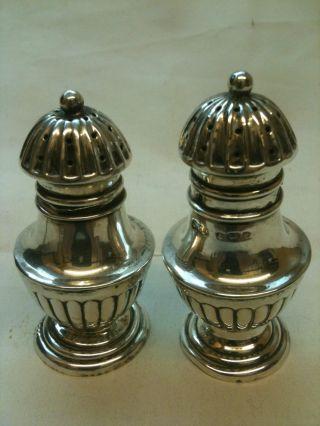 Antique Solid Silver Salt & Pepper Shakers Birmingham 1906 Ref 290 photo