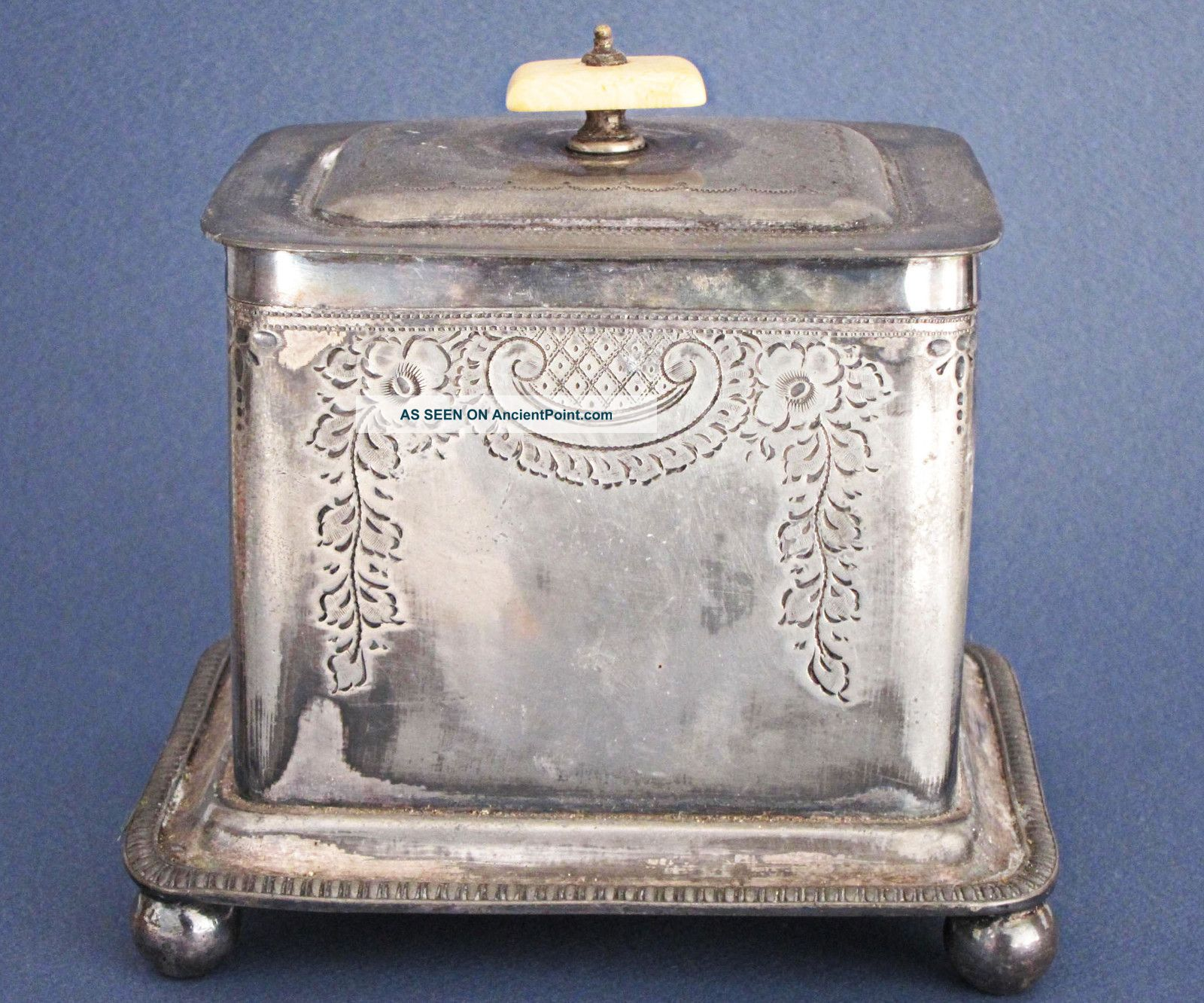 Victorian Antique Silver Plated Biscuit Box James Dixon 1870 Barrel Cookie Jar Boxes photo