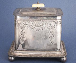 Victorian Antique Silver Plated Biscuit Box James Dixon 1870 Barrel Cookie Jar photo