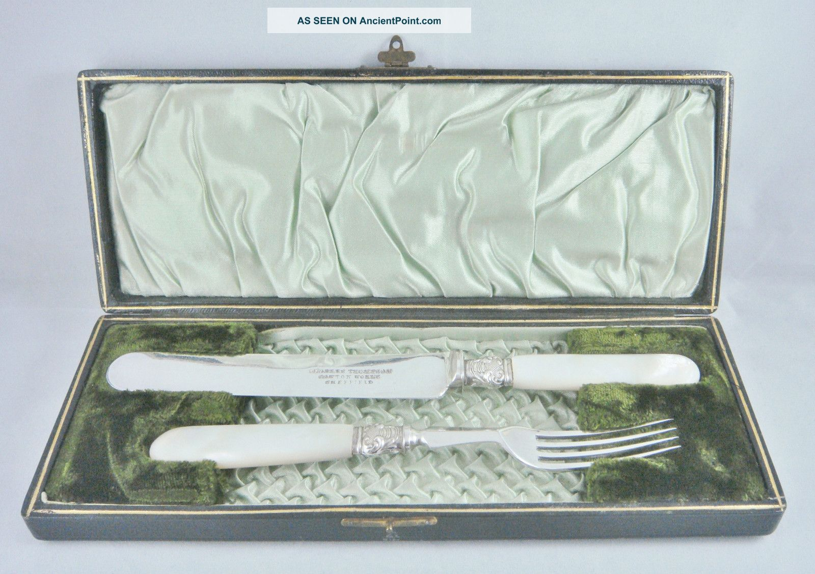 Rare Antique 19thc C Thompson Mother Of Pearl & Silver P Cased Knife & Fork Set Other photo
