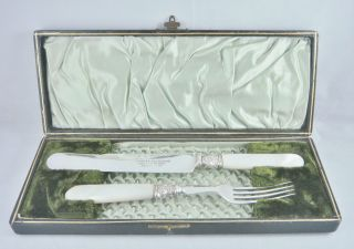 Rare Antique 19thc C Thompson Mother Of Pearl & Silver P Cased Knife & Fork Set photo