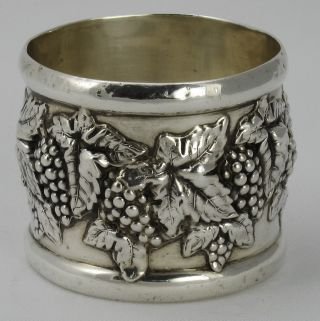 Fab Wide Sterling Napkin Ring 3 - D Grapes photo