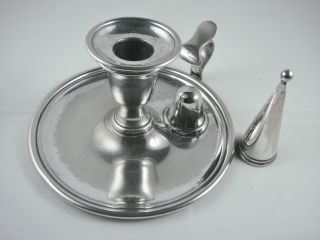Lovely Antique Victorian Silver Epns Chamber Candle Stick Holder & Snuffer photo