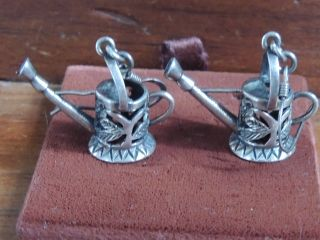 Vintage Sterling Silver Earings / Charms Watering Cans photo
