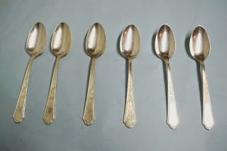 6 Ancestral Teaspoons - Classic 1924 Rogers - Fine - Clean & Table Ready photo
