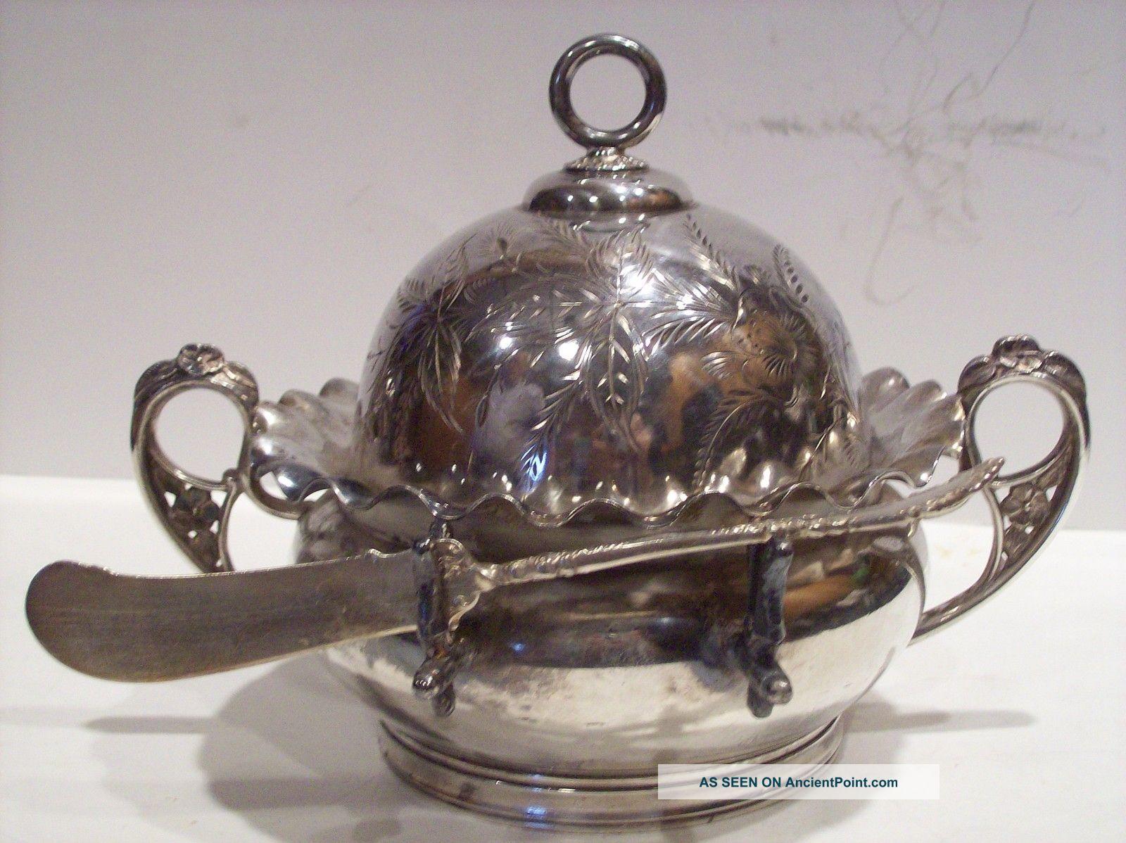 Victorian Silverplate Dome Top Butter Dish Aurora Silverplate Co Old Estate Candlesticks & Candelabra photo