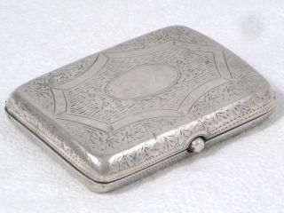 Antique Sterling Silver Gilt Engrave Decorated Cigarette Case Dated 1902 photo