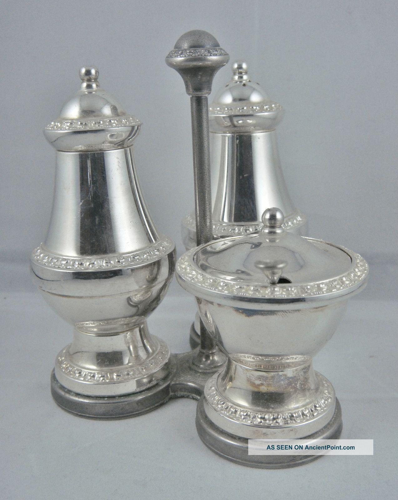 Lovely Vintage English Silver P Ornate Salt Pepper Shakers Mustard Pot Cruet Set Salt & Pepper Cellars/ Shakers photo