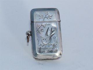 Solid Silver 1883 Engraved Bird Vesta Case photo