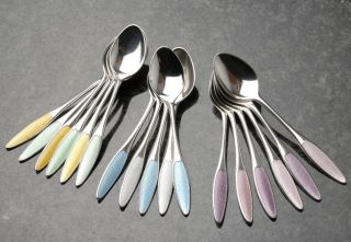 5 Frigast Denmark Sterling Silver Enamel Guilloche Spoons.  Mixed Colours.  Lot C photo