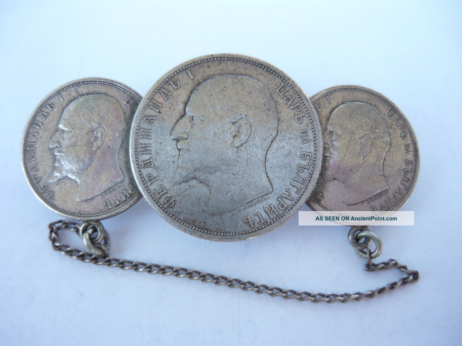 Vintage Bulgarian Coins Broushe Coin Silver (.900) photo