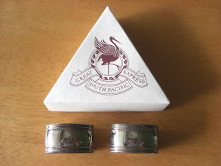 Boxed Pair Of Great South Pacific Express Silver Plated Napkin Rings photo