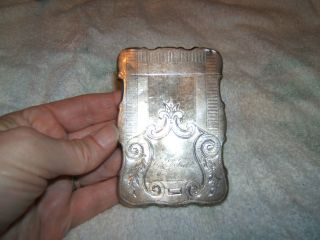 Civil War Era Coin Silver Calling Card Case Heavy W/ Engraving photo
