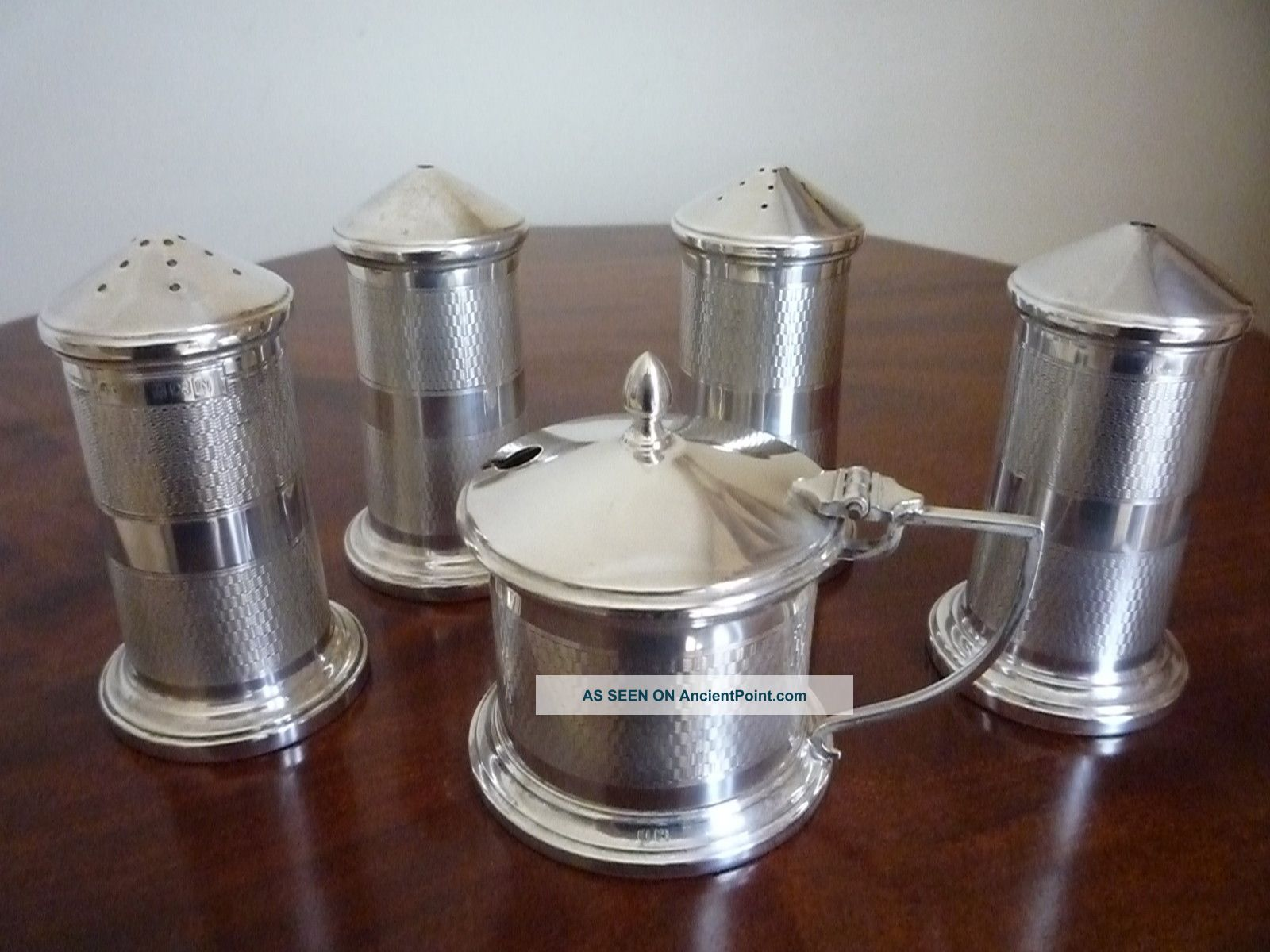 Solid Silver 5 Piece Condiment / Cruet Set Mustard Pots photo