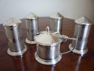 Solid Silver 5 Piece Condiment / Cruet Set photo