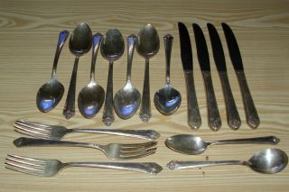 16 Pc Rogers & Bro Silverplate - Starlight Pattern,  Reinforced Plate Is photo